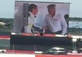 Giant TV Malfunctions At Formula 1 Race