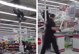 Dumbass Shoplifter Tries To Escape And Fails