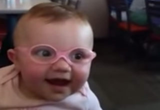 Baby Wears Glasses For The 1st Time