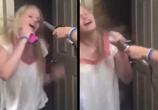 Girl Grabs Hot Curling Iron While Rockin' Out