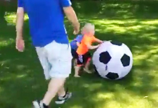 Dad Pisses Off His Boy With a Soccer Ball Not Once But Twice!