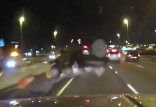 Jeep Crashes Into Barrier And Goes Flying