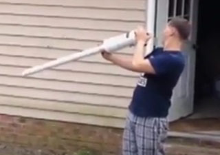 Potato Gun Recoil Knocks Out Fro