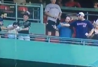 Red Sox Fan Pukes On People Below Him