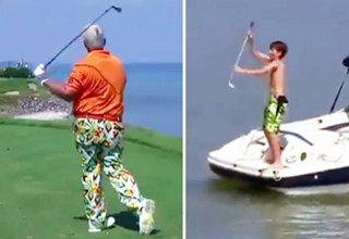 John Daly Throws His Club In Lake Michigan