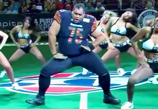 """Football Player"" Crashes Cheerleader Dance Break and NAILED IT"