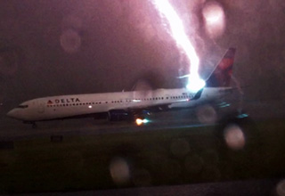 Lightning Strikes Delta Airplane