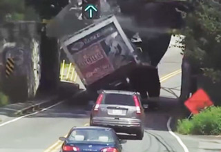 Low Hanging Bridge Obliterates Box Truck