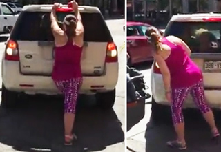 Angry Woman Tries To Reserve a Parking Spot By Foot