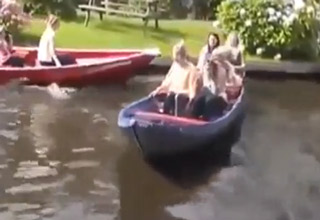 6 Women Having Some Trouble With Their Boat