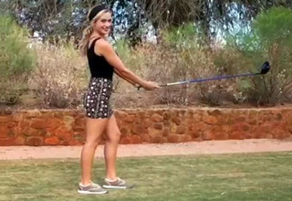 Sexy Golfer Paige Spiranac Does The Happy Gilmore Shot