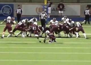 High School Football Player Kicks a Field Goal Off of the Referees Head!