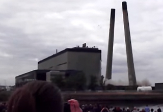 Power Plant Demolition Becomes Even More Badass When Chimneys Collide