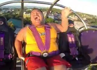 Big Man Freaks Out On Slingshot Ride