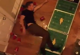 Genius Attempts Second Story Beer Pong Dunk