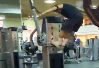 Crazy Guy Doing Crossfit At The Gym