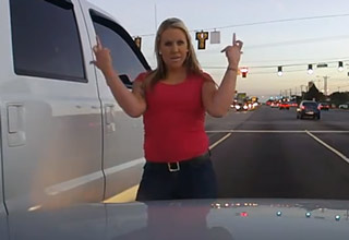 Redneck Woman Road Rages After