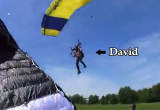 Rookie Sky Diver Has A Crash Landing