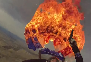 Badass Skydiver Sets His Parachute on Fire