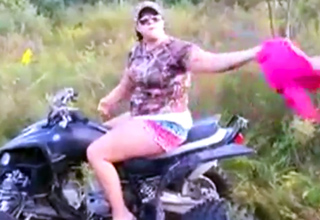 Redneck Girl Attempts To Cross Creek On An ATV
