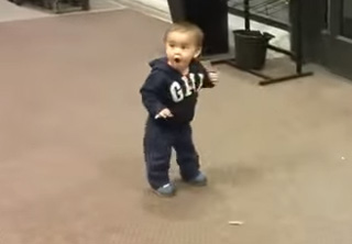 Little Kid Amazed After First Encounter With Automatic Doors