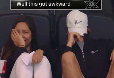Couple Gets Pressured into Smooching for Kiss Cam