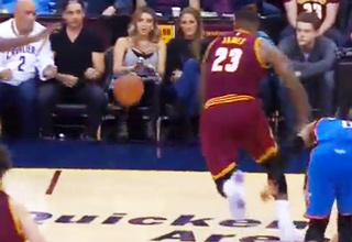 LeBron James Crushes and Lands on Lady