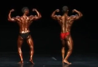 Bodybuilder's Shoulder Pops and Starts Leaking On Stage