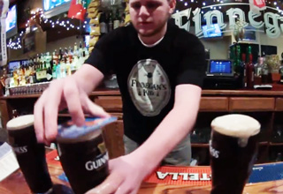Bar Mate Throws Three Full Pints Into The Air