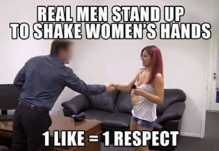 guy shaking girl's hand on porn set