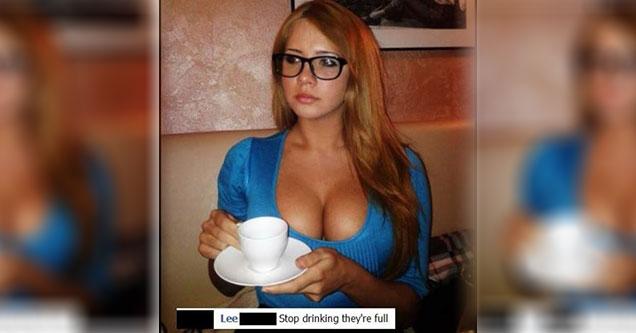girl with big boobs drinking tea