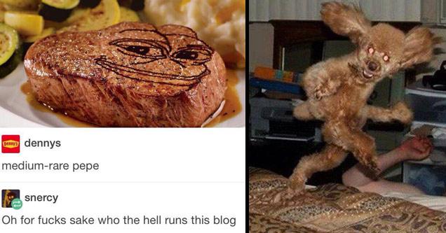 dennys facebook ad with medium rare pepe steak and crazy dog