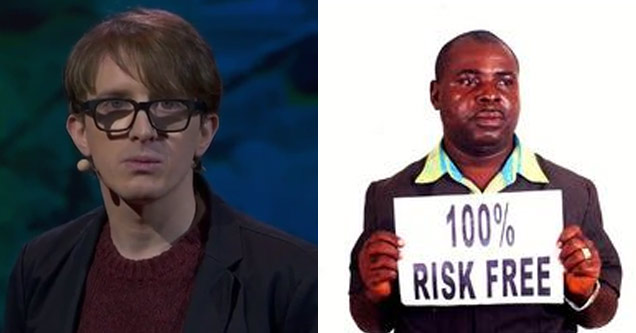 comedian james veitch and a stock image of an online scammer