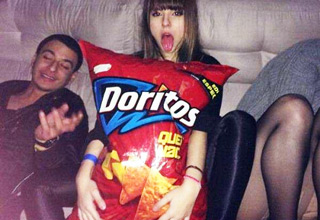 girl with giant doritos bag