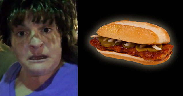 angry woman and mcrib sandwich