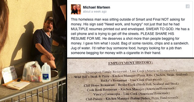 homeless gets rewarded for handing out resumes feels