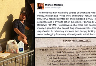 homeless man gets rewarded for handing out resumes feels gallery