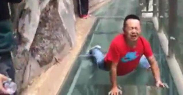 man scared of heights on china u0026 39 s glass bridge