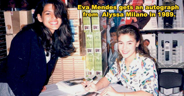 Eva Mendes gets an autograph from  Alyssa Milano in 1989.