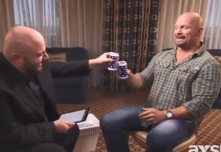 stone cold talking to interview drinking beer