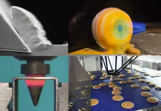 a drill bit spinning, perfect pancakes and candy being made