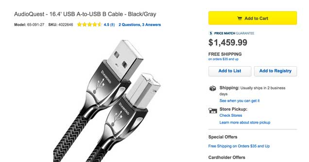 Best Buy Is Selling A Usb Cable For 1 500 And The Reviews