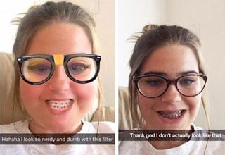 funny picture of girl with snapchat filter that is not needed
