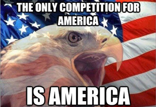 Funny meme pic of the only competition for america is america