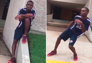 Stranger Can't Resist Busting Out His Dance Moves