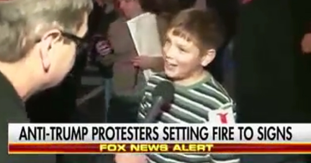 Screw Our President Kid Proud of Himself For Starting Fire At Trump Protest
