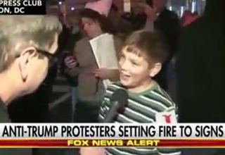 Kid Starts Fire At Trump Protest And Owns Reporter