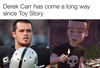 Funny side by side photos comparing Derek Carr from Toy Story and a popular football player