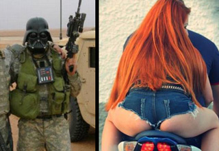 cool pics - cover thumb Darth Vader soldier and red head on a bike.