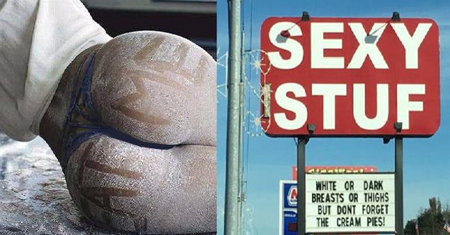cover image for low brow humor of butt with writing on it and chicken place with suggestive descriptions of what they serve.